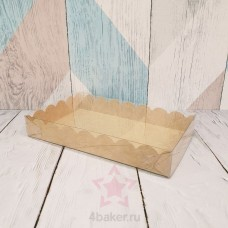 Коробочка 12х20х3 см крафт ажурная с прозрачной крышкой и фиксацией дна nz