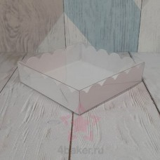 Коробочка 12х12х3 см белая ажурная с прозрачной крышкой nz