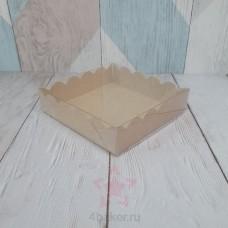 Коробочка 12х12х3 см крафт ажурная с прозрачной крышкой nz