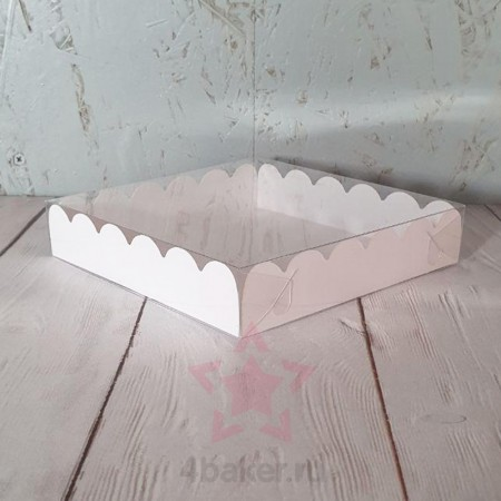 Коробочка 15х15х3 см белая ажурная с прозрачной крышкой nz