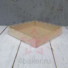 Коробочка 15х15х3 см крафт ажурная с прозрачной крышкой nz