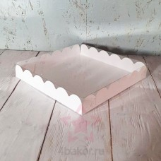Коробочка 20х20х3 см белая ажурная с прозрачной крышкой nz