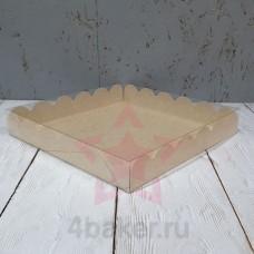 Коробочка 20х20х3 см крафт ажурная с прозрачной крышкой nz