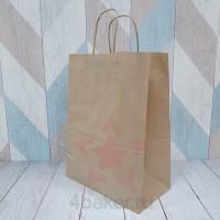 Бумажный крафт пакет с кручеными ручками, 26х35х15 см nz