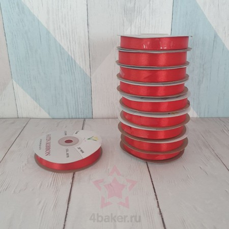 Лента Атласная Красная 12мм